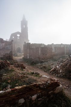 Belchite is a village in the province of Zaragoza, Spain, about 40 km southeast of Zaragoza. Between August 24 and September 7, 1937, loyalist Spanish Republican and rebel General Franco's forces in the Spanish Civil War fought the Battle of Belchite in and around the town. After 1939 a new village of Belchite was built adjacent to the ruins of the old, which remain a ghost town as a memorial to the war.