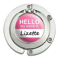 Graphics and More Lizette Hello My Name Is Foldable Table Bag Purse Caddy Handbag Hanger Holder Hook with Folding Compact Mirror