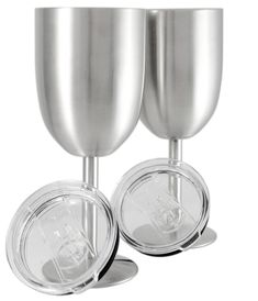 Set of 2 Double Wall Vacuum Sealed Insulated Wine Glass Goblet with Splash Proof Lid Premium Food Grade Stainless Steel BPAFree by Frost Bottle ** You can find more details by visiting the image link. (This is an affiliate link) Wine Glass Set, Mason Jar Wine Glass, Wine Goblets, Wine Tumblers, Glass Suppliers, Stainless Steel Coffee Mugs, Wine Chillers, Wine Craft, Copper Mugs