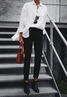 White Blouse black pants office :: outfit idea