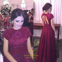 Burgundy Beaded Bodice Backless Cap Sleeve Long Chiffon Prom Dress