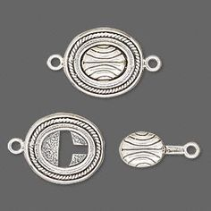 Metal Jewelry Clasp, JBB Findings, tab lock, antiqued sterling silver, oval with lines. Jewelry Clasps, Jewelry Tools, Metal Jewelry, Jewelry Findings, Jewelry Art, Sterling Silver Jewelry, Jewelry Design, Jewelry Making, Bails For Jewelry