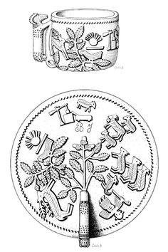 Ivócsanak és a csanak kiterített mintája, Csete Balázs tollrajza, 1910-1920, a Néprajzi Múzeum rajzgyűjteményéből (R3242)
