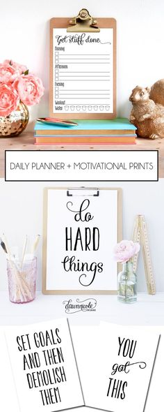 Daily Planner and Motivational Prints to keep your 2016 goals on track!