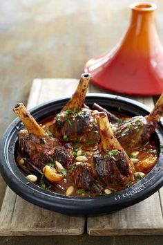 Moroccan Lamb Shank Tagine with Roasted Almonds and Dried Apricots