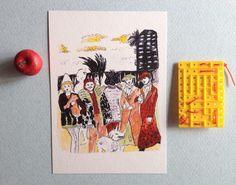 Cartolina illustrata hipster paesaggio di theberingsea su Etsy