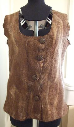 Earth Brown Felted Wool and Alpaca Vest  Womens by olefelt on Etsy, $105.00