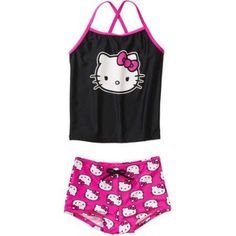 Hello Kity Girls' Tankini Swimsuit, Black