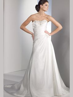 Elegant White Strapless Sweetheart Beading Wedding Dress WDR58942 $166