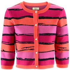 Issa Pink Orange Stripe Cardigan (445 CAD) ❤ liked on Polyvore featuring tops, cardigans, outerwear, sweaters, jackets, pink cardigan, striped top, pink striped cardigan, stripe top and stripe cardigan