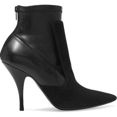 Givenchy Ankle boots in black suede and stretch-leather (2.845 BRL) ❤ liked on Polyvore featuring shoes, boots, ankle booties, ankle boots, black high heel boots, black leather booties, black ankle boots, black suede boots and black suede ankle booties