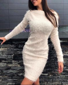 Fluffy Solid Long Sleeve Bodycon Dress Women's Online Shopping Offering Huge Discounts on Dresses, Lingerie , Jumpsuits , Swimwear, Tops and More. Looks Chic, Wool Dress, Winter Dresses, White Fashion, Pattern Fashion, Designer Dresses, Ideias Fashion, Fashion Dresses, Maxi Dresses