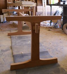 """addingtonfurniture: """" Got the through wedged mortise and tenons done on the stretcher. Still some fine tuning to do on the joinery and some shaping. Then I can drawbore the joints on the side assemblies. The wedges are a little off center but I'm. Farmhouse Dining Room Table, Trestle Dining Tables, Wood Tables, Slab Table, Table Legs, Poltrona Design, Wood Joints, Woodworking Inspiration, Furniture Assembly"""