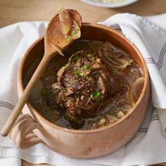 This recipe gets fancy but easy with French onion soup and a little red wine. #CrockPot Recipes
