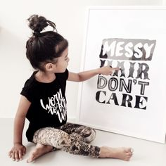 Messy Hair Don't Care poster & Tee by Quinn & Fox ~ kids fashion and stuff