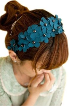 MERSUII™ Blue Floral with Crystal Beads Design Hair Band Head Hoop Hairband Headbands Hair Accessories for Women Lady Girls' Christmas Xmas Day Gift -- More info could be found at the image url. (Amazon affiliate link)