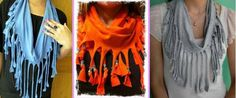Scarves made from old shirts.....awesome idea!