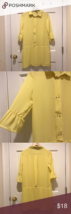 CUFN Pale yellow drop waist dress Pale yellow dress - semi sheer top, lined bottom. Rhinestone double buttons. Super cute for Spring or Easter 🐣 Size small, by CUFN  basic. Good condition 1 missing button!! I never buttoned that top so I would just remove both buttons or leave unbuttoned and it is not even noticeable (see last pic) . I do have the button and can include if you want to easily see back on! Priced accordingly. CUFN Dresses
