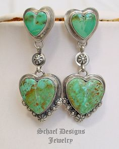 Schaef Designs Kingman turquoise & sterling silver Southwestern double heart Post Earrings | New Mexico