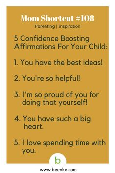 Parenting and Inspiration Shortcuts #108: 5 confidence boosting affirmations. Get your daily source of awesome life hacks and parenting tips! CLICK NOW to discover more Mom Hacks. #beenke #MomShortcuts #MomHacks