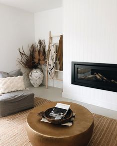A contemporary fireplace is easy to achieve with HardieGroove Lining by James Hardie My Living Room, Living Room Decor, Interior Architecture, Interior Design, Curtain Styles, Contemporary Home Decor, Decoration, Living Room Designs, James Hardie