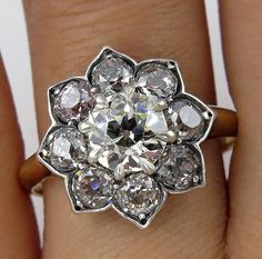 A magnificent turn-of-the-century Victorian Diamond Cluster ring.     A delightful piece for an avid antique collector.     A Beautiful Authentic