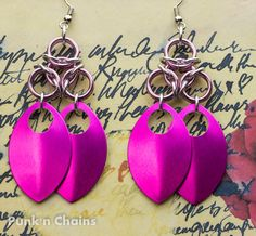 Pink with Silver #Chainmaille Scale Earrings