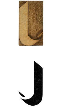 12 line Shadow wood type capital letter J