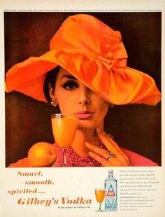 1962 Ad Vintage Gilbey's Vodka Screwdriver Orange Hat Juice Drink Alcohol Liquor