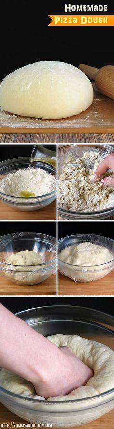 Homemade Pizza Dough (how to make pizza crust from scratch, Italian dinner recipes) YummyAddiction.com