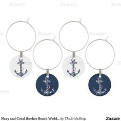 Navy and Coral Anchor Beach Wedding Wine Charm