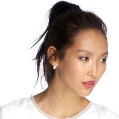 sole society • hoop earrings mini square crystal earrings. a bit tarnished Sole Society Jewelry Earrings