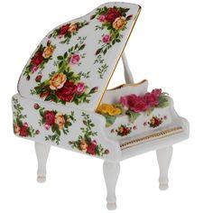 Royal Albert Country Roses Musical Piano In Gift Box