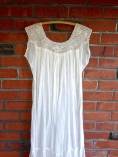 70s Gauze Crochet Boho Dress Sz S White Ethnic by HuntedFinds, $78.00