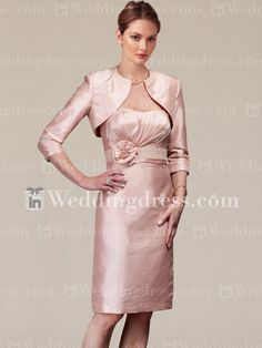 Beaded Knee Length Mother of the Bride Dress with Flower MO201