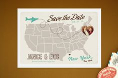 Up and Away Save the Date Postcards. This is adorable & fun!
