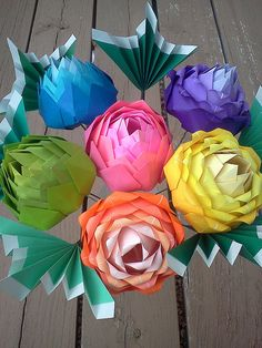 Origami Rainbow Blooms