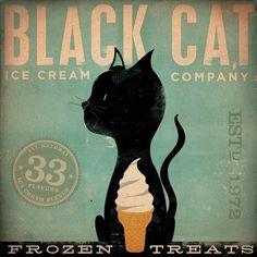 Black Cat Ice Cream Company original graphic art on canvas 12 x 12 x 1.5 by stephen fowler. $79.00, via Etsy.