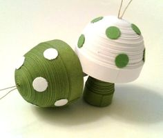 Toadstool Ornament Sage Green and White by WintergreenDesign, via Etsy.