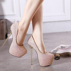 Heel height: cm Platform height: 6 cm Color: White, Black, Pink, Blue Size: 40 Size Note: We ship CN size if your foot is a bit wide and fat, we recommend choosing one size larger. Size chart: Euro / CN 34 = US 3 = 22 cm (foot … High Heels For Prom, Glitter High Heels, Super High Heels, Prom Heels, Hot High Heels, High Heels Stilettos, Glitter Shoes, Shoes Heels Pumps, Shoes For Prom
