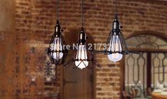 Black cable Unique American Style edison pendant LightVintae Bird Cage Decoration Pendant Lamp E27/E26 110V/220V 2 COLOR home office idea *** AliExpress Affiliate's Pin.  Find similar products on AliExpress website by clicking the image
