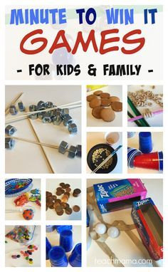 minute to win it games for kids and family   get kids moving and working those fine motor and gross motor skills all in the name of fun! --> also great for class parties! from teachmama.com