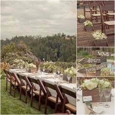 Rustic centerpieces, signs and other charming details