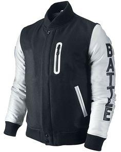 Men s Jacket KOBE Destroyer XXIV Michael B Jordan Black   White Leather  Sleeves 89fbc39a3