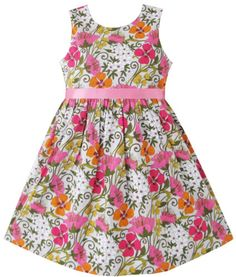 Girls Dress Lily Flower Print Princess Party Kids Clothes Size 2-10 Years New