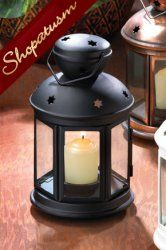Black Colonial Candle Lantern Lamp Centerpiece