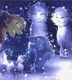 Bluestar, moonflower, snowfur, Oakheart and Mosskit in the starclan