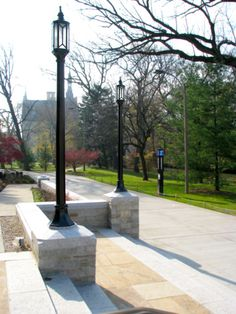 Bronze historic lamp posts at the entrance of Northwestern University Charles Deering Library (Evanston, IL)
