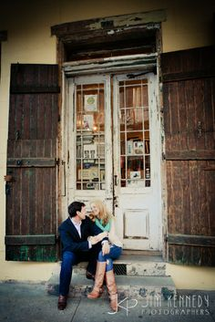 Love this New Orleans street engagement in the heart of the French Quarter!   New Orleans engagement, French Quarter engagement photos   Jim Kennedy Photographers