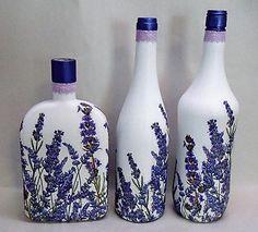 bottle crafts vase Handmade Upcycled Decoupage Glass Decorative Bottles, Set of French, Lavender, Paris, Home Decor Glass Bottle Crafts, Wine Bottle Art, Painted Wine Bottles, Diy Bottle, Recycled Glass Bottles, Decorative Bottles, Garrafa Diy, Decoupage Jars, Altered Bottles